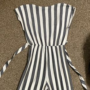 Caution to the Wind Striped Jumpsuit